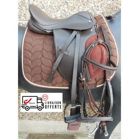 Kit de selle en cuir marron (Tapis chocolat)