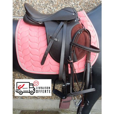 Kit de selle en cuir marron (Tapis rose)