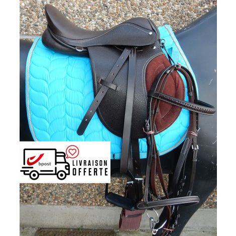 Kit de selle en cuir marron (Tapis bleu)