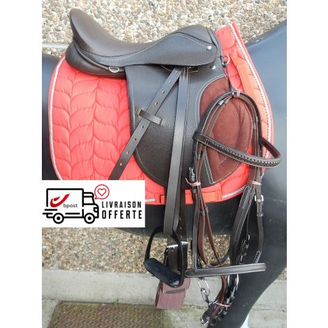 Kit de selle en cuir marron (tapis rouge)