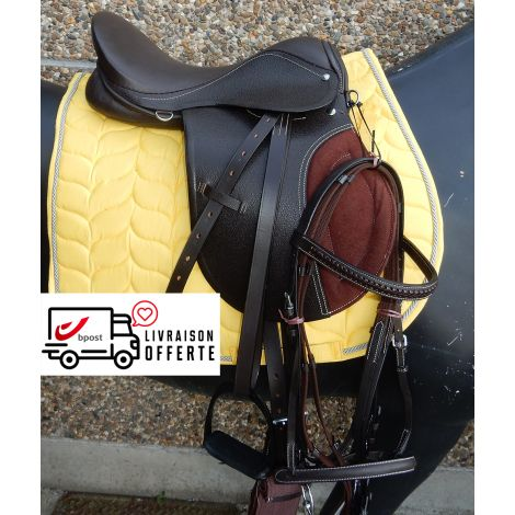Kit de selle en cuir marron (Tapis jaune)